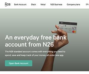N26, ドイツ, 銀行口座, 開設, オンライン, ネットバンク, N26 , サイト